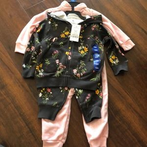 Carter's sweater set and pink long sleeve onesie